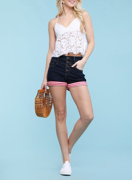 Marvelous Mrs Maisel Red Gingham Cuff Shorts