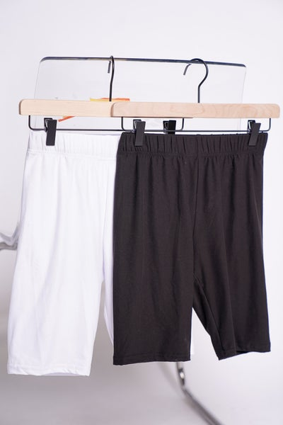 Work For It Biker Shorts x2, Black And White