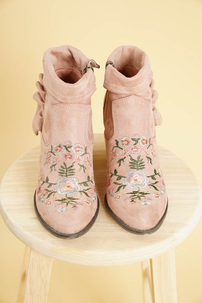 Dixie Embroidered Floral Ankle Boot