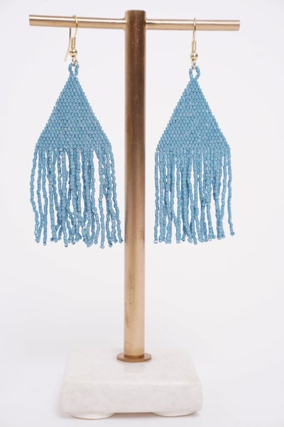 Light Blue Luxe Fringe Earring