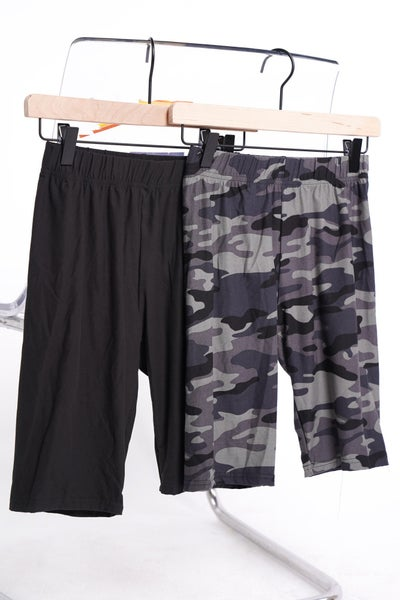 Work For It Biker Shorts x2, Black And Camo