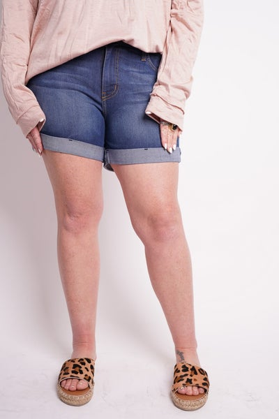 The FAY Cuffed High Waisted Shorts By Judy Blue