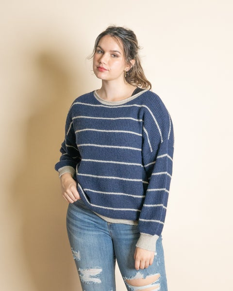 Navy Stripe Accent Sweater