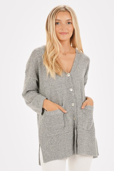 Grey Light Weight Button Down Cardigan