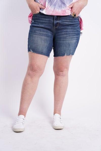 The LYNN High Rise Mid Thigh Shorts By Judy Blue