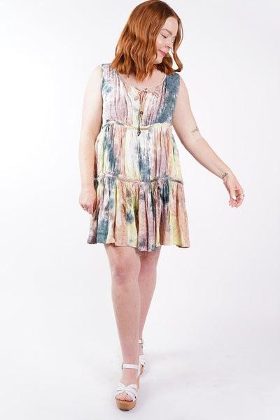 Santa Monica Tie Dye Tiered Tunic Dress, 2 Colors!