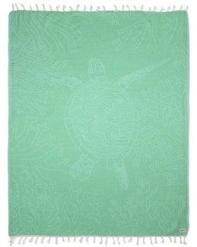 Turquoise Sea Turtle Reef Large Towel