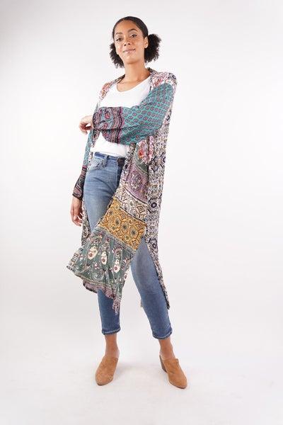 Mixed Print Puff Sleeves Maxi Kimono