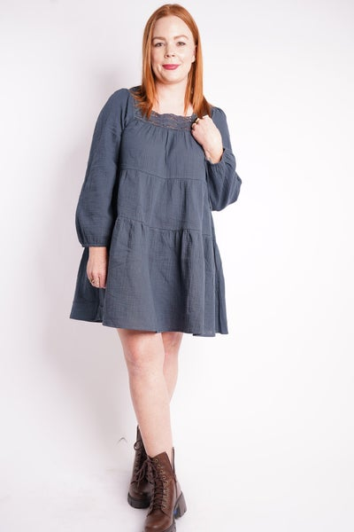 Tier And Now Lace Trim Dress