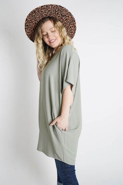 Beyond Basic Boxy Solid Tunic Dress
