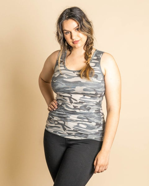 Ribbed Tank in Camo or Leopard Top