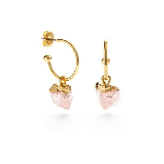 Rose Quartz Nugget Hoops