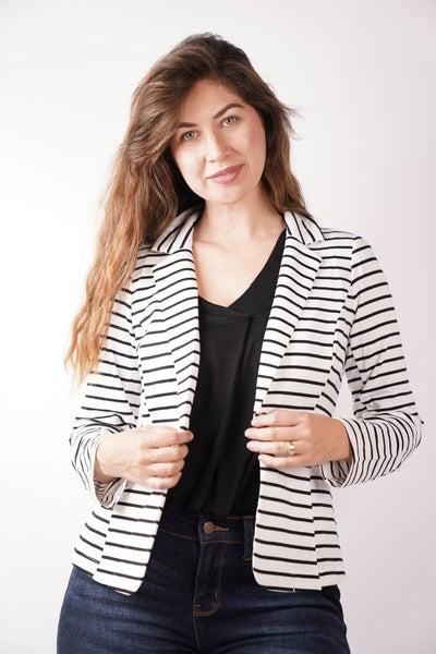 Best Line Of Business Striped Blazer