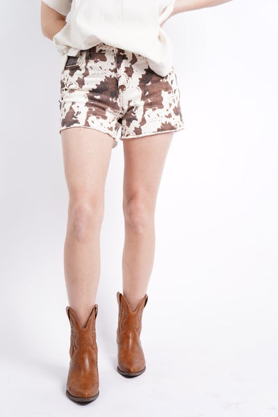 Best In The West Mid Rise Cow Shorts By Judy Blue