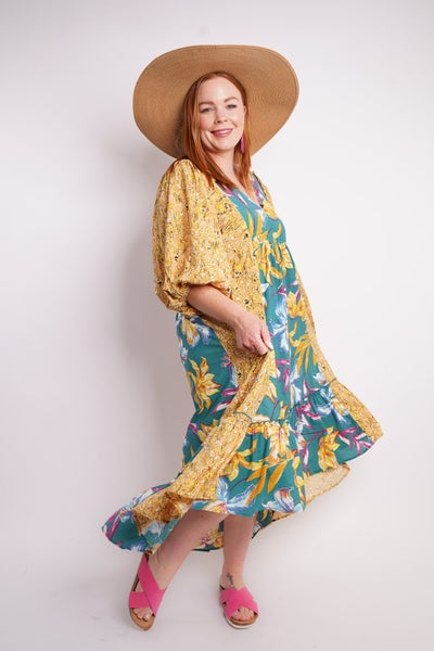 Tropical Vacay High Low Midi Dress