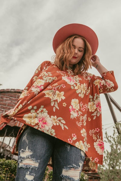 Luna 3/4 Sleeve Tunic In Rust Floral