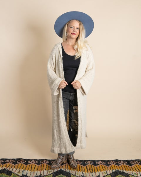 Popcorn Hooded Duster Cardigan By Pol
