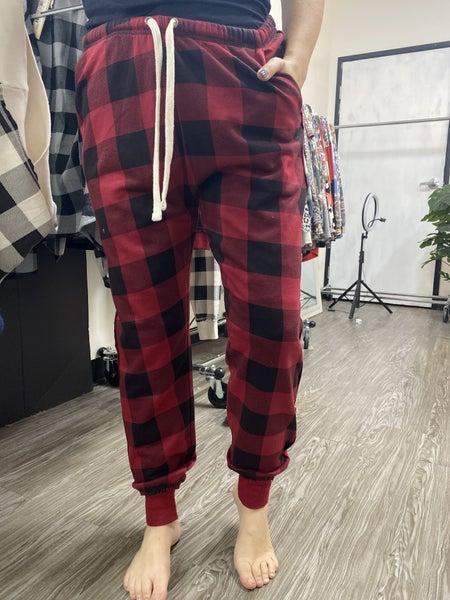 Pants Plaid Jogger Bottoms, Red
