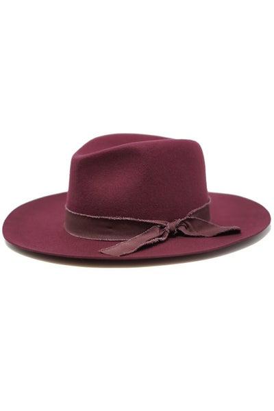 Kaia Wool Felt Panama Hat in Burgundy