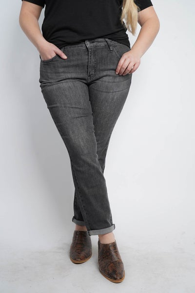The TORI Charcoal Hand Sanded Cuffed Boyfriend Jeans from Judy Blue