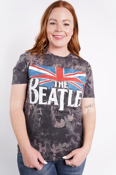 The Beatles Flag Acid Splashed Band Tee