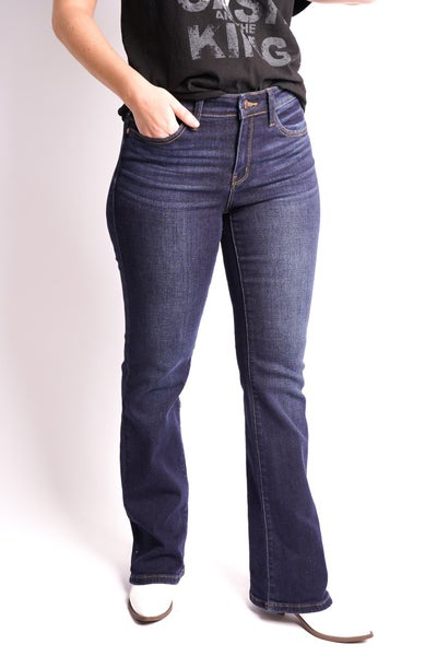 The DOLLY Judy Blue Whiskered Dark Bootcut Jeans