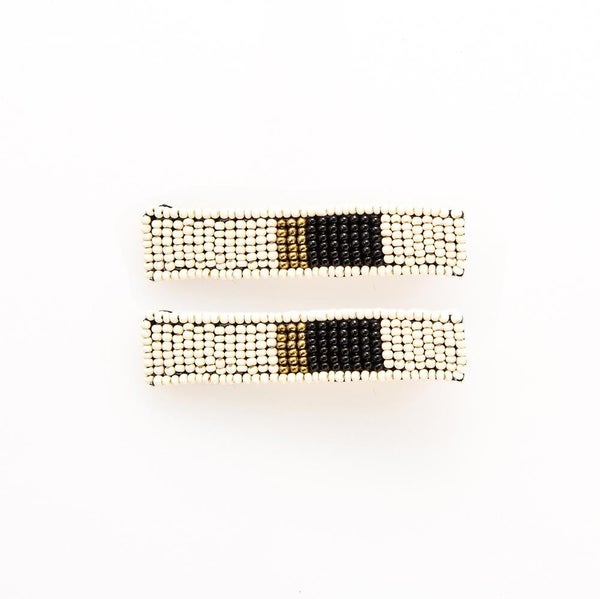 White Black And Gold Beaded Hair Clip