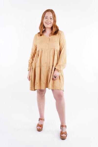 Marigold Swiss Dot Tiered Babydoll Dress