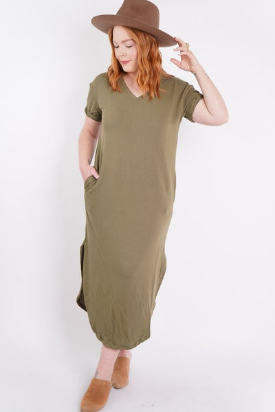 Casual Crush Solid V Neck Midi Dress, 2 Colors!