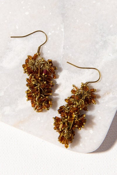 Amber Glass and Brass Drop Earring