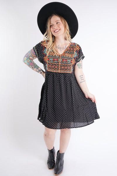 Everlee Embroidered Polka Dot Dress