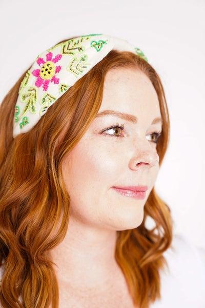 Embellished Floral Leaf Bead Fashion Headband