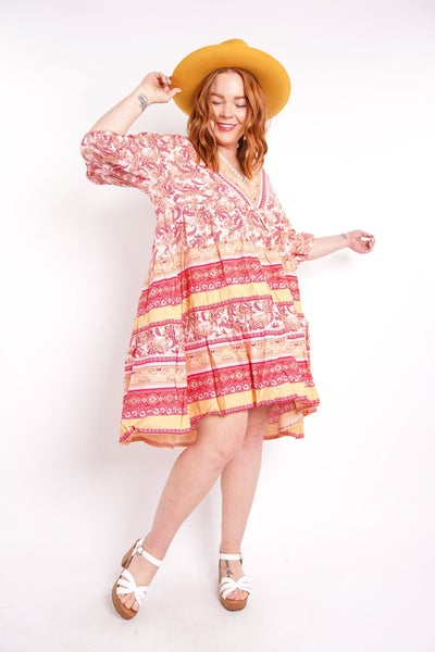 Free For All Paisley Tiered Babydoll Dress, 2 Colors!