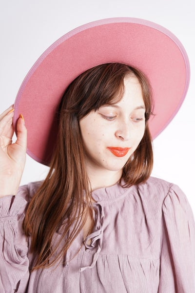 VIDA- Wool Felt Stiff Brim Gambler Hat in Rose