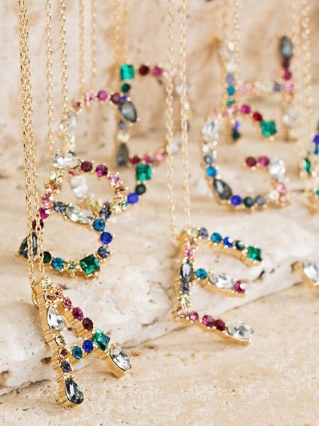 """MULTI-COLORED PAVE' INITIAL NECKLACE"""