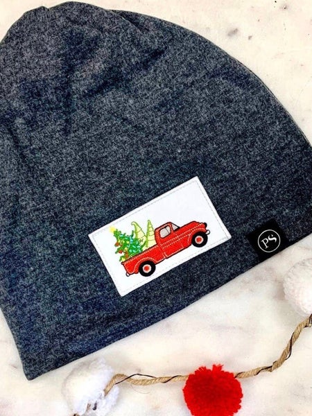 CHRISTMAS TRUCK W/TREE PATCH BEANIE