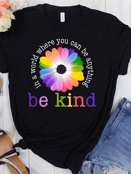 """BE KIND"" RAINBOW FLOWER TEE"