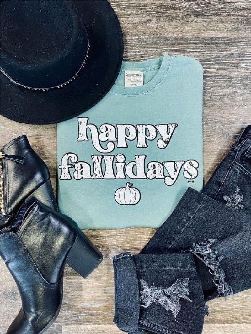 """HAPPY FALLIDAYS"" - GRAPHIC LONG SLEEVE T"