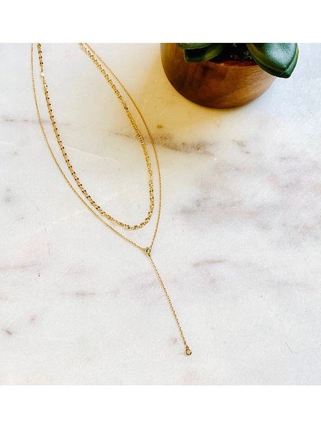 PRETTY SIMPLE - TWO LAYER GOLDEN DROP NECKLACE *Final Sale*