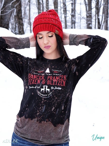 """CHRISTMAS NAUGHTY LIST"" - BLEACHED GRAPHIC LONG SLEEVE TEE *Final Sale*"