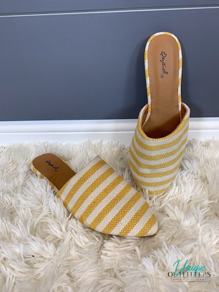 STRIPED WOVEN MULE SANDAL *Final Sale*