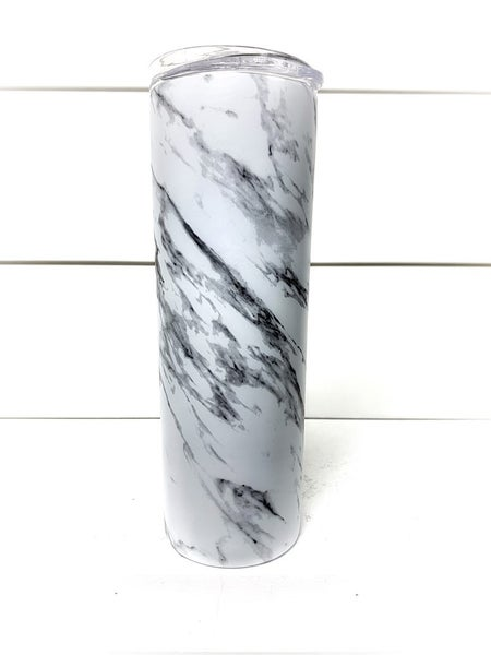 WHITE MARBLE TALL TRAVEL CUP