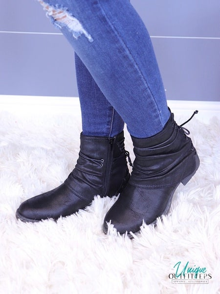 VERY G - LACE UP RUCHED COMBAT BOOT *Final Sale*