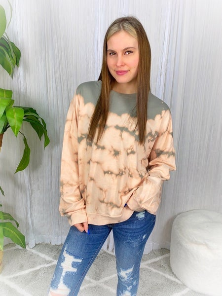 """""""EASEL"""" ROUND NECK TIE DYE PULLOVER"""