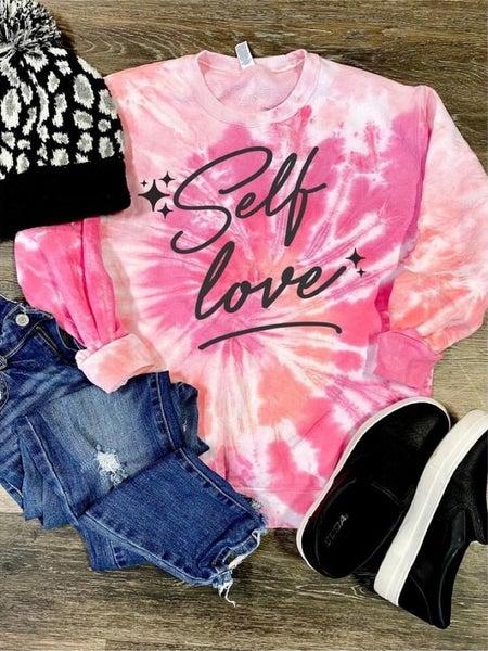 SELF LOVE PINK TIE DYE CREWNECK