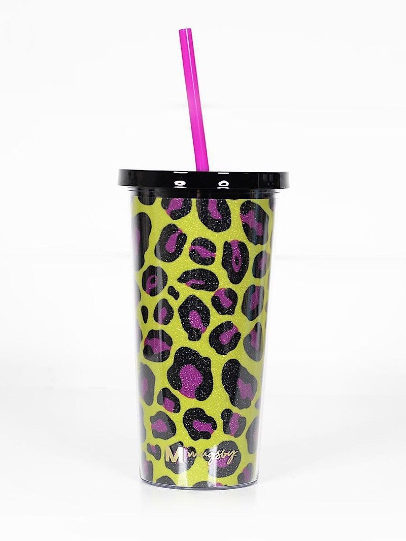 YELLOW AND PINK LEOPARD GLITTER TUMBLER (20oz)
