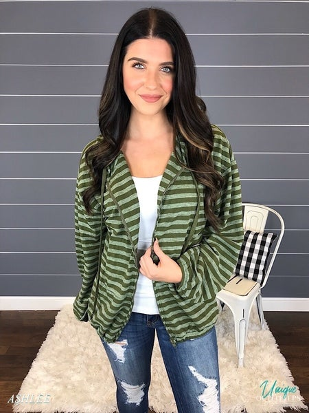 STRIPED SHEER KNIT ZIP UP JACKET *Final Sale*