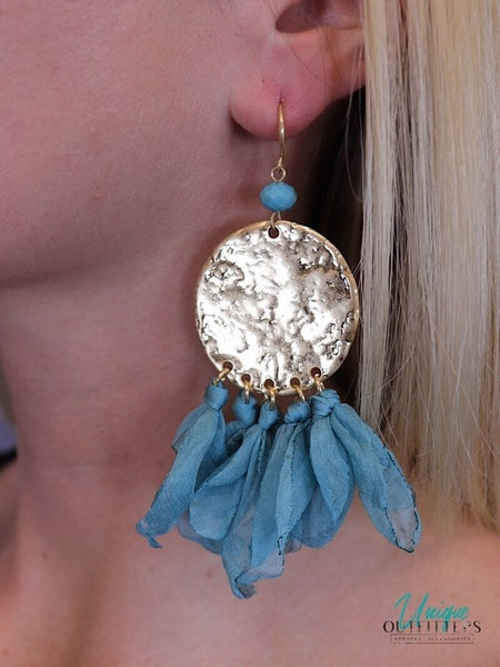 GOLD CIRCLE DANGLE EARRING W/ FABRIC *Final Sale*