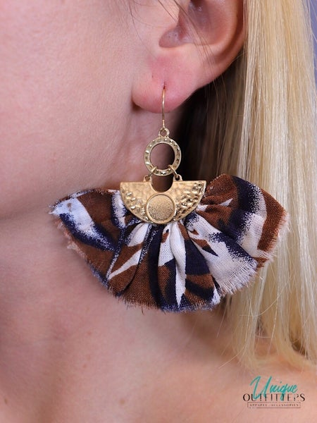 GOLD & FRINGE FABRIC EARRINGS *Final Sale*