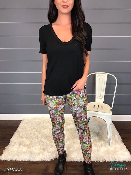 MULTI COLOR HALLOWEEN PRINT LEGGINGS *Final Sale*